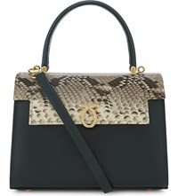 Launer Judi Python Skin Leather Tote Dark Green