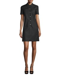 Michael Kors Short Sleeve Polo Shirtdress Black Women's