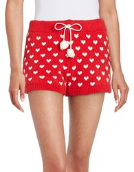Betsey Johnson Cozy Intarsia Sweater Shorts Red