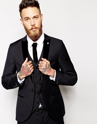 Noose And Monkey Suit Jacket With Velvet Lapel In Skinny Fit Black