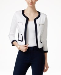 Cece By Cynthia Steffe Contrast Trim Jacket Ultra White