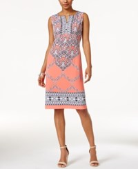 Jm Collection Printed Split Neck Sheath Dress Only At Macy's Pink Cayman Scroll