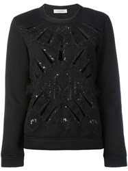 Valentino Sequin Embellished Knitted Sweater Black