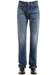 Balenciaga 21Cm Stone Washed Cotton Denim Jeans Blue