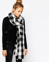 Esprit Checked Oversized Blanket Scarf Blackandwhite