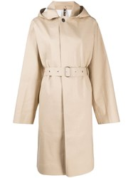 Jil Sander Hooded Belted Trench Coat Neutrals