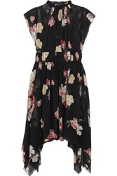 Ulla Johnson Luisa Floral Print Silk Georgette Mini Dress Black