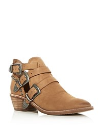 Dolce Vita Spur Pointed Toe Mid Heel Booties Saddle