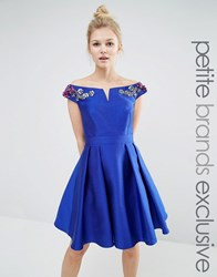 Little Mistress Petite Off Shoulder Bardot Mini Prom Dress With Floral Embellished Shoulders Cobalt Blue