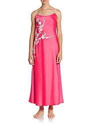 Natori Embroidered Charm Long Gown Fuchsia Pink