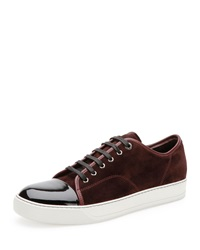 Lanvin Suede And Patent Leather Low Top Sneaker Burgundy