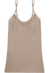 Hanro Millie Lace Trimmed Ribbed Jersey Camisole Mushroom