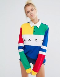 Lazy Oaf Oversized Rugby Shirt With Colour Blocks Multi