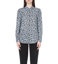 Reiss Hale Abstract Print Silk Blouse Cornflower Blue