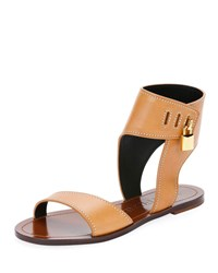 Tom Ford Flat Leather Sandals With Padlock Light Brown