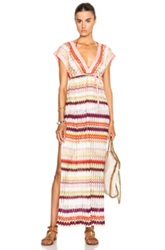 Missoni Mare Maxi Caftan In Red Pink Stripes Abstract