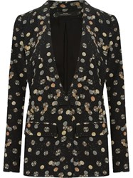 Andrea Marques Open Front Printed Blazer Black