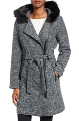 Steve Madden Women's Asymmetrical Hooded Coat With Faux Fur Trim