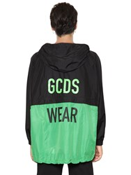 Gcds Hooded Nylon Windbreaker Jacket Black Green