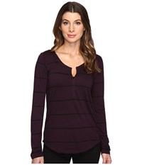 Joe's Jeans Aleta Mock Long Sleeve Henley Deep Orchid Women's Clothing Purple