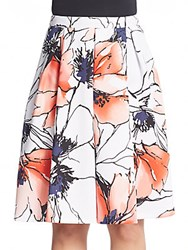 Saks Fifth Avenue Red Pleated Floral Print Scuba Skirt White Multi