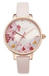Ted Baker London Kate Leather Strap Watch 36Mm Pink Floral Rose Gold