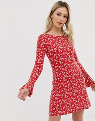 Free People Say Hello Floral Mini Dress Red