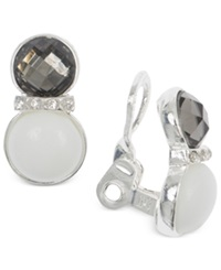 Jones New York Silver Tone White Stone And Epoxy Crystal Clip On Earrings