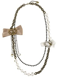 Twin Set Beaded Chain Necklace Metallic