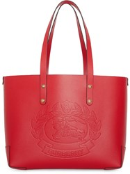 Burberry Small Embossed Crest Leather Tote Red