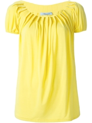 Blumarine Pleated Boat Neck Top