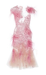 Marchesa Floral Feather Applique Cocktail Dress Pink