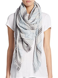Saks Fifth Avenue Textured Striped Woven Scarf Charcoal Multi