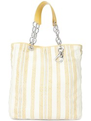 Christian Dior Vintage Large Woven Leather Soft Shopper Tote Yellow