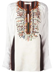Chloe Embroidered Jacquard Blouse Nude Neutrals