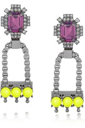 Mawi Rhodium Plated Swarovski Crystal Drop Earrings