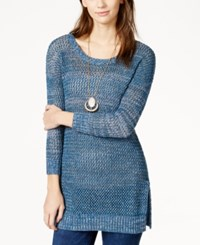 Lucky Brand Marled Open Stitch Pullover Tunic Blue Mult