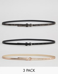Asos 3 Pack Metallic And Snake Waist And Hip Belts Multi