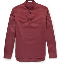 J.W.Anderson Stand Collar Cotton Twill Shirt Burgundy