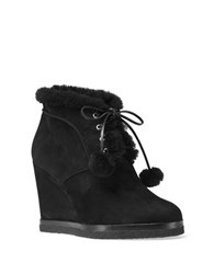 Michael Kors Chadwick Suede And Shearling Wedge Ankle Boots Black