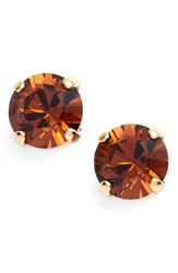 Women's L. Erickson 'Grace' Crystal Stud Earrings Smoked Topaz Gold