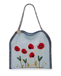 Stella Mccartney Falabella Baby Bella Flower Embroidered Tote Bag Denim Light Blue