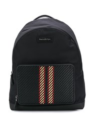 Ermenegildo Zegna Pelletessuta Striped Backpack Black