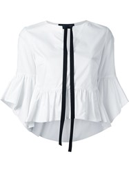 Christian Pellizzari Black Trim Peplum Shirt White