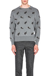 Thom Browne Oversized Turtle And Whale Embroidered Sweatshirt In Gray Animal Print