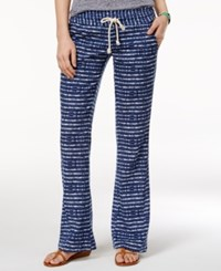 Roxy Juniors' Printed Wide Leg Soft Pants Dark Blue