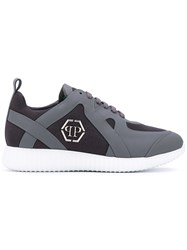 Philipp Plein Logo Embossed Sneakers Men Calf Leather Leather Polyester Rubber 45 Grey