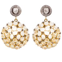 Kastur Jewels Victorian White Sapphire And Lemon Topaz Earrings White Silver Brown