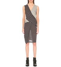 Allsaints Adria Striped Jersey Dress Cl Blk Cld Gry