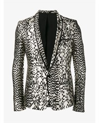 Haider Ackermann Animal Jacquard Silk Blend Blazer White Multi Coloured Black Denim